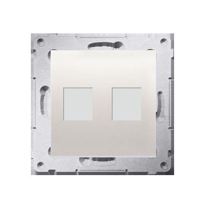 Abdeckung für Telefon- und Datensteckdose (Modul) 2fach auf Keystone cremeweiß DKP2.01/41