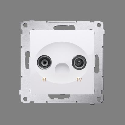 Antennendose R- TV Durchgangsdose 10dB weiß glänzend Simon 54 Premium Kontakt Simon DAP10.01/11