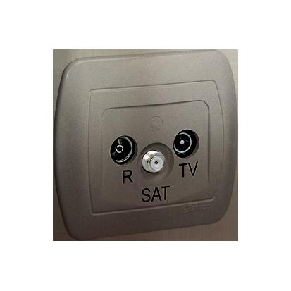 Antennensteckdose Enddose R-TV-SAT Satin met. Kontakt Simon 82 AAS/29