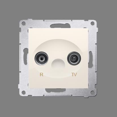 Antennensteckdose R-TV Endsdose 10dB cremeweiß matt Kontakt Simon 54 Premium DAZ.01/41
