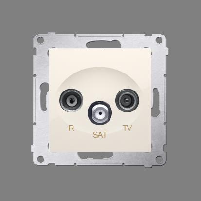 Antennensteckdose R-TV-SAT Durchgangsdose cremeweiß matt Simon 54 Premium Kontakt Simon DASP.01/41