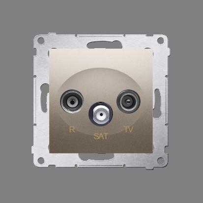 Antennensteckdose R-TV-SAT Durchgangsdose gold matt Simon 54 Premium Kontakt Simon DASP.01/44