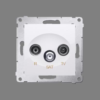 Antennensteckdose R-TV-SAT Durchgangsdose weiß glänzend Simon 54 Premium Kontakt Simon DASP.01/11