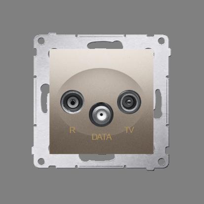 Antennensteckdose TV-DATA 2x 'F' 5-1000 MHz gold Simon 54 Premium Kontakt Simon DAD1.01/44
