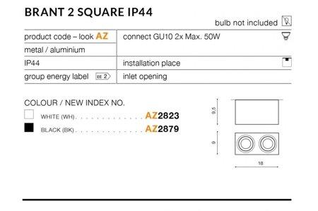Aufbaustrahler BRANT 2 SQUARE Modern Metall, Aluminium Weiß Azzardo AZ2823
