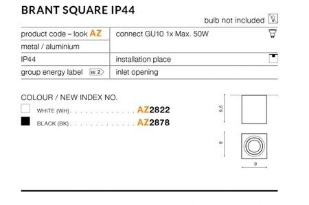 Aufbaustrahler BRANT SQUARE Modern Metall, Aluminium Schwarz Azzardo AZ2878