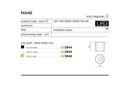 Aufbaustrahler MANE Modern Metall, Aluminium Weiß Azzardo AZ2845