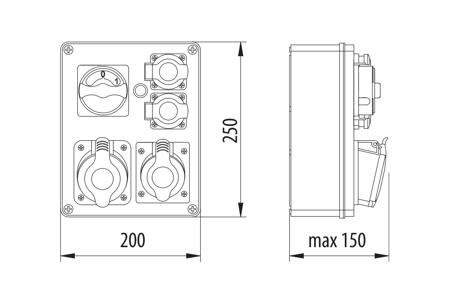 Baustromverteiler, Wandverteiler , Stromverteiler  R-BOX 240 1x32A/5P, 1x16A/5P, 2x250V Schalter L-P B.1095W Pawbol