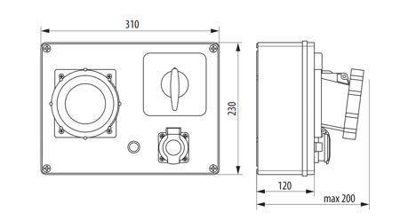 Baustromverteiler, Wandverteiler , Stromverteiler  R-BOX 300 2x32A/5P, 2x16A/5P, 4x250V B.18.341 Pawbol