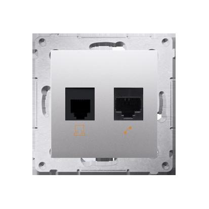 Comuterdose RJ45 Kat.5e (Modul) und Telefondose RJ12 silber matt Kontakt Simon 54 Premium D5T.01/43