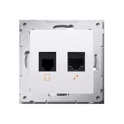 Comuterdose RJ45 Kat.5e Modul und Telefondose RJ12 weiß glänzend Kontakt Simon 54 Premium D5T.01/11