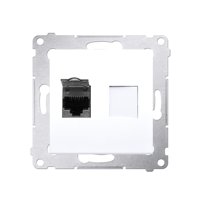 Comuterdose UAE RJ45 Kat.6 (Modul) geschirmt weiß glänzend Kontakt Simon 54 Premium D61E.01/11