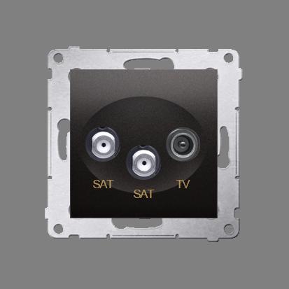 Doppel- Antennensteckdose SAT-SAT-RTV 1dB anthrazit matt Simon 54 Premium Kontakt Simon DASK2.01/48