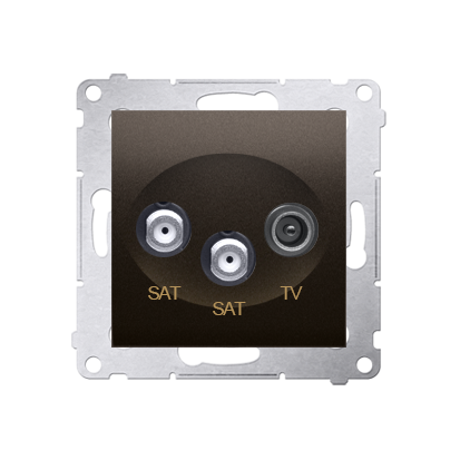 Doppel- Antennensteckdose SAT-SAT-RTV 1dB braun matt Simon 54 Premium Kontakt Simon DASK2.01/46