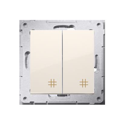 Doppel- Kreuzschalter (Modul) mit Aufdruck Cremeweiß Kontakt Simon 54 Premium DW7/2.01/41