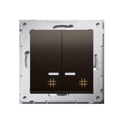 Doppel- Kreuzschalter (Modul) mit Aufdruck und LED Braun Kontakt Simon 54 Premium DW7/2L.01/46