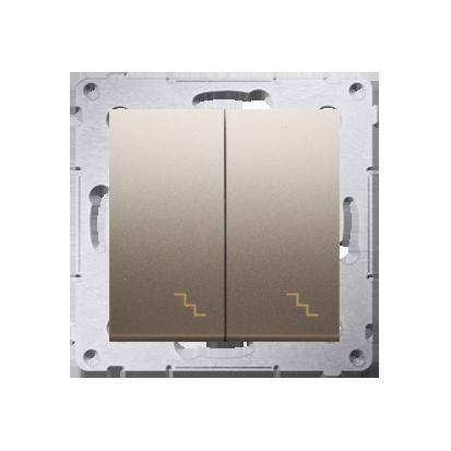 Doppel- Treppenschalter (Modul) mit Aufdruck Gold Kontakt Simon 54 Premium DW6/2.01/44