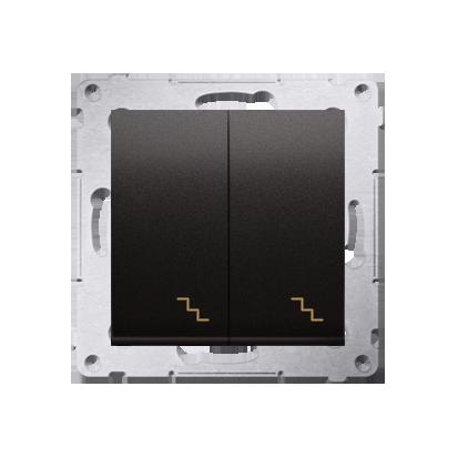 Doppel- Treppenschalter (Modul) mit Aufdruck und LED Anthrazit Kontakt Simon 54 Premium DW6/2L.01/48