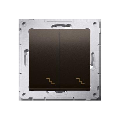 Doppel- Treppenschalter (Modul) mit Aufdruck und LED Braun Kontakt Simon 54 Premium DW6/2L.01/46