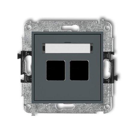 Doppelte Multimedia-Slot-Mechanismus ohne Modul (Keystone-Standard) graphit matt 28MGM-2P