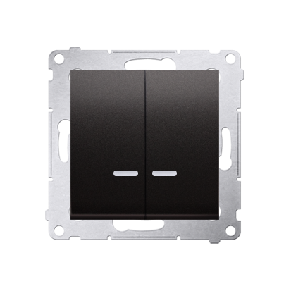 Doppelter Kerzenschalter (Modul) mit LED IP44 Anthrazit Kontakt Simon 54 Premium DW5ABL.01/48