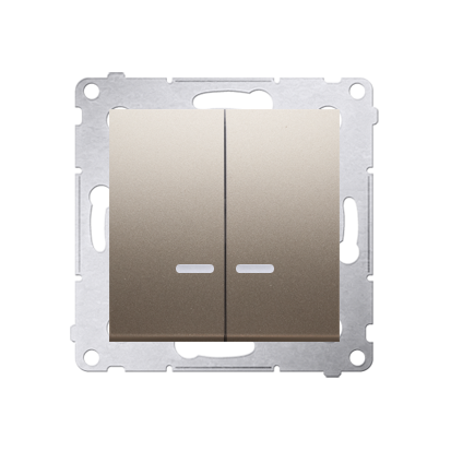 Doppelter Kerzenschalter (Modul) mit LED IP44 Gold matt Kontakt Simon 54 Premium DW5ABL.01/44