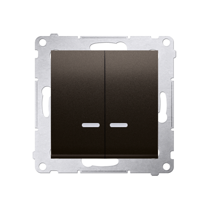Doppelter Kerzenschalter (Modul) mit LED IP44 braun matt Kontakt Simon 54 Premium DW5ABL.01/46