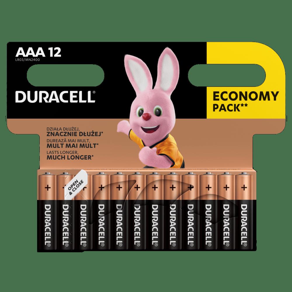 Duracell Alkaline-Batterien AAA LR03 1,5V DURACELL Blister 12 Stück