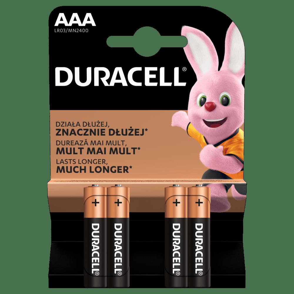 Duracell Alkaline-Batterien AAA LR03 1,5V DURACELL Blister 4 Stück