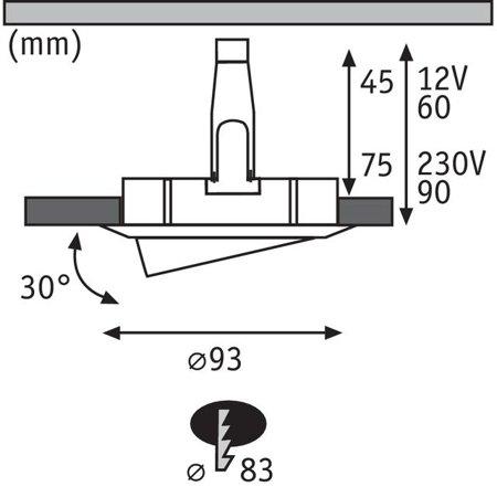 Einbauleuchte schwenkbar rund NOVA GU10 i GU5,3 IP65 - Satin Paulmann PL93662