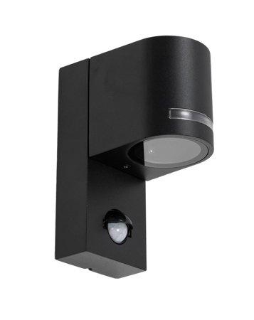 Gartenlampe, Fassaden Außenwandbeleuchtung mit Bewegungssensor VIRA 1 PIR GU10 schwarz IP44 EDO777376 EDO Garden Line