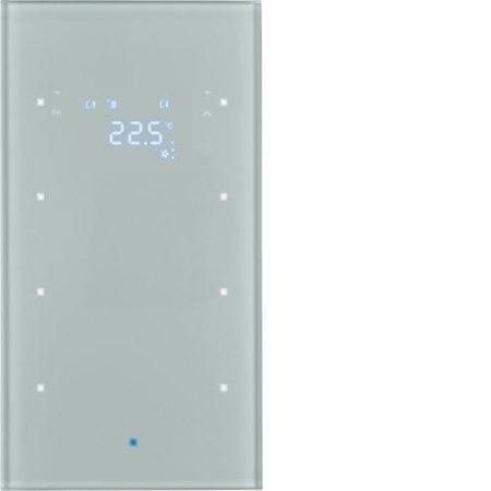 Glas-Sensor 3fach mit Temperaturregler TS Sensor alu Hager 75643034