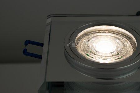 Glass Deckenstrahler Einbaustrahler CRYSTAL SILVER quadratisch silber EDO777130 EDO