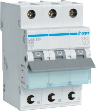 Hager MBS350  Leitungsschutzschalter 3 polig 6kA B-Charakteristik 50A QuickConnect 3 Module