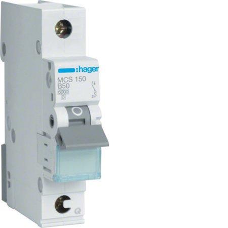 Hager MCS150  Leitungsschutzschalter 1 polig 6kA C-Charakteristik 50A QuickConnect 1 Modul