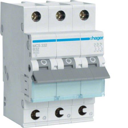 Hager MCS332  Leitungsschutzschalter 3 polig 6kA C-Charakteristik 32A QuickConnect 3 Module