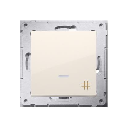 Kreuzschalter (Modul) mit Aufdruck und LED Cremeweiß Kontakt Simon 54 Premium DW7L.01/41