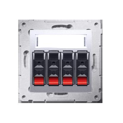 Lautsprecher Anschlussdose Modul-Einsätze 4fach silber matt Kontakt Simon 54 Premium DGL34.01/43