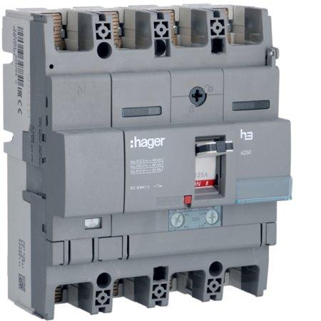 Leistungsschalter Baugröße x250 4polig 40kA 125A TM N 60% geschützt Hager HNB127H