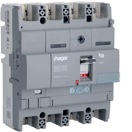 Leistungsschalter Baugröße x250 4polig 40kA 200A TM N 60% geschützt Hager HNB202H