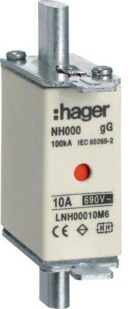 NH-Sicherungseinsatz  NH000 gG 690V 20A Kombimelder Grifflasche spannungsführend Hager LNH00020M6