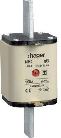 NH-Sicherungseinsatz NH2 gG 500V 100A Kombi- Melder mit isolierter Grifflasche Hager LNH2100MK
