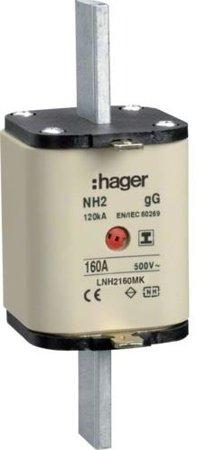 NH-Sicherungseinsatz NH2C gG 500V 160A Kombi- Melder mit isolierter Grifflasche Hager LNH2160MK