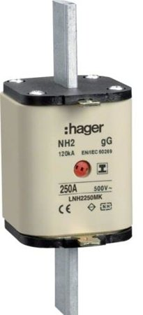 NH-Sicherungseinsatz NH2C gG 500V 250A Kombi- Melder mit isolierter Grifflasche Hager LNH2250MK