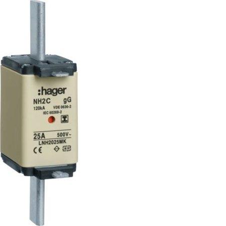NH-Sicherungseinsatz NH2C gG 500V 35A Kombi- Melder spannungsfreie Grifflasche Hager LNH2035MK