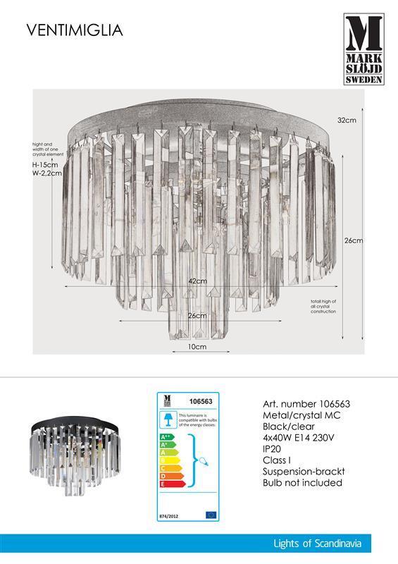 Plafond schwarz VENTIMIGLIA 40W 4xE14 Markslojd 106563