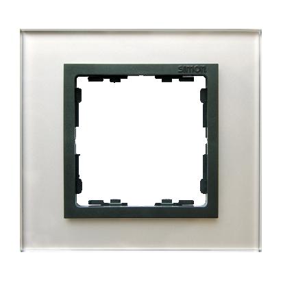 Rahmen 1fach Glas silber/ Zwischenrahmen graphit Kontakt Simon 82 82817-35