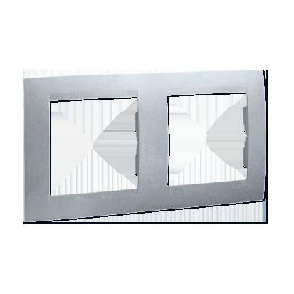 Rahmen 2fach Aluminium für senkrechte und waagerechte Montage Kontakt Simon 1501620-026