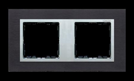 Rahmen 2fach Glas Inox schwarz/ Zwischenrahmen aluminium Kontakt Simon 8282927-38