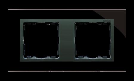 Rahmen 2fach Glas schwarz/ Zwischenrahmen graphit Kontakt Simon 82 82827-32
